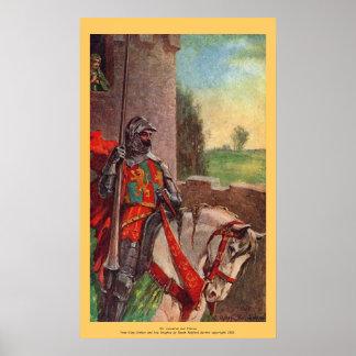 Vintager - König Arthur - Sir Lancelot und Elaine Plakat