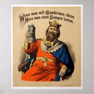 Vintager König auf Thron mit Stein-Bier Poster