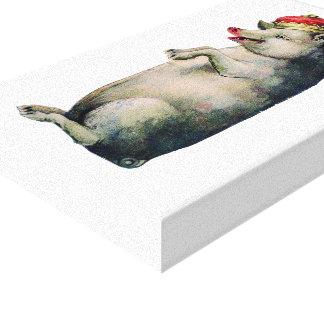 Vintager König Pig Illustration Leinwanddruck