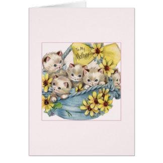 Vintager Korb der Karte der Kätzchen-Mutter Tages