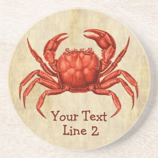 Vintager Krabben-Entwurf personalisiert Sandstein Untersetzer