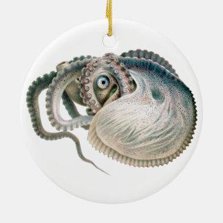 Vintager Kraken-Argonaut, Marinelebens-Tiere Keramik Ornament