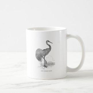 Vintager Kran-Vogel-Federzeichnen Kaffeetasse