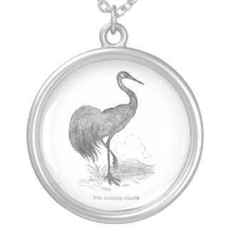 Vintager Kran-Vogel-Federzeichnen Versilberte Kette