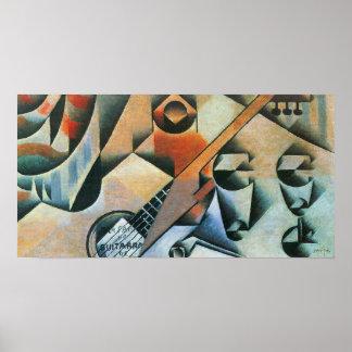 Vintager Kubismus, Gläser der Gitarren-(Banjo), Poster