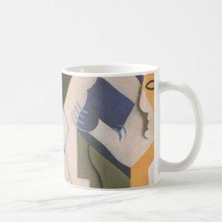 Vintager Kubismus, Harlekin an einem Tisch durch Kaffeetasse