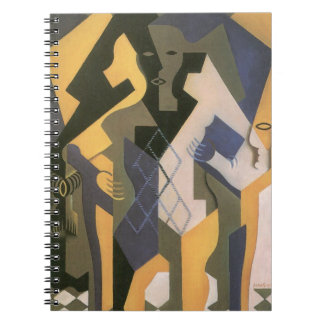 Vintager Kubismus, Harlekin an einem Tisch durch Spiral Notizblock