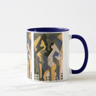Vintager Kubismus, Harlekin an einem Tisch durch Tasse