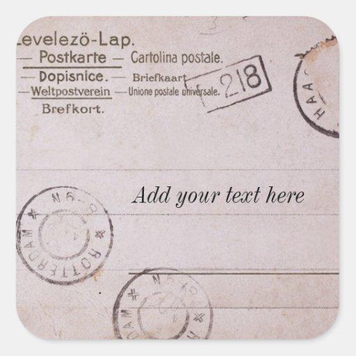 Vintager kundengerechter Postkartenentwurf Sticker