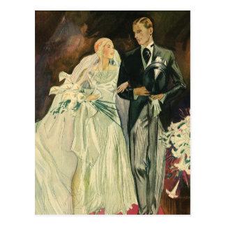 Vintager Kunst-Deko, der Braut-und Postkarte