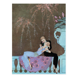 Vintager Kunst-Deko-Feuerwerk-Kuss Save the Date! Postkarte