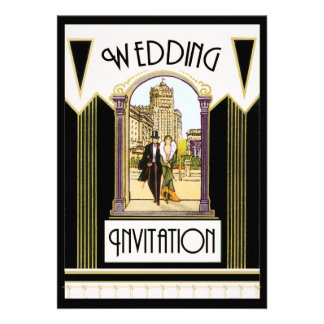 Vintager Kunst-Deko-formale Hochzeits-Paare Ankündigungskarte