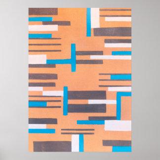 Vintager Kunst-Deko-Jazz Pochoir, geometrisches Poster