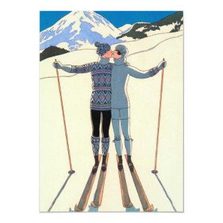 Vintager Kunst-Deko-Liebe-Kuss-Ski-Schnee Save the Karte