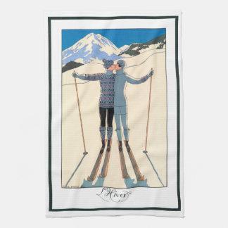 Vintager Kunst-Deko, Liebhaber im Schnee durch Handtuch