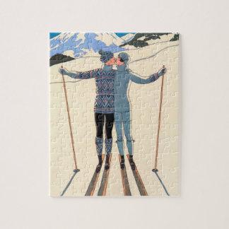 Vintager Kunst-Deko, Liebhaber im Schnee durch Jigsaw Puzzles