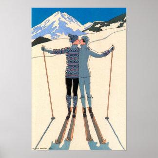 Vintager Kunst-Deko, Liebhaber im Schnee durch Poster