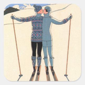 Vintager Kunst-Deko, Liebhaber im Schnee durch Quadratischer Aufkleber