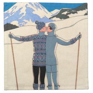 Vintager Kunst-Deko, Liebhaber im Schnee durch Stoffserviette