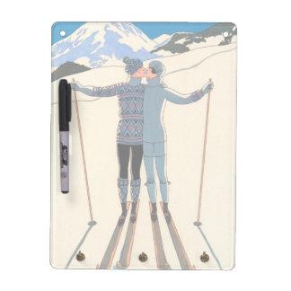 Vintager Kunst-Deko, Liebhaber im Schnee durch Trockenlöschtafel