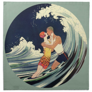 Vintager Kunst-Deko-Liebhaber-Kuss in den Wellen Serviette