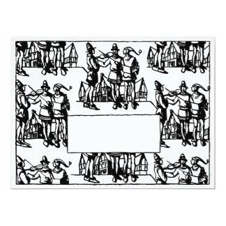 Vintager Kunst-Deko-mittelalterliche 16,5 X 22,2 Cm Einladungskarte