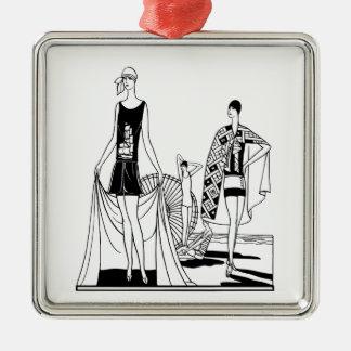Vintager Kunst-Deko-moderne Damen am Strand Silbernes Ornament