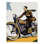 Vintager Kunst-Deko-Motorrad-Druck Plakat