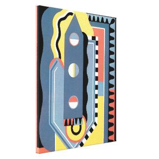 Vintager Kunst-Deko Pochoir Jazz-geometrische Leinwanddruck