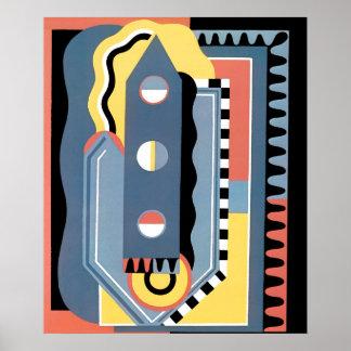 Vintager Kunst-Deko Pochoir Jazz-geometrische Poster