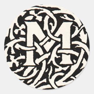 Vintager Kunst Nouveau Buchstabe des Monogramm-M Runder Aufkleber