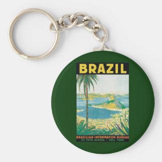 Vintager Küstenstrand Reise-Rio de Janeiro Standard Runder Schlüsselanhänger