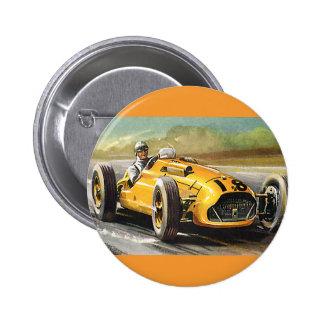 Vintager laufender Sport, gelbes Rennen-Auto-Fahre Button