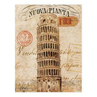 Vintager lehnender Turm von Pisa Postkarte