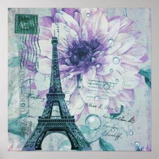 Vintager lila Blumenturm paris Eiffel Poster
