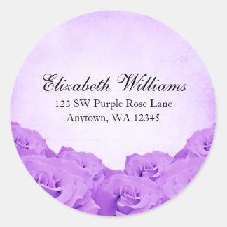 Vintager lila Rosen-Adressen-Aufkleber Runder Aufkleber