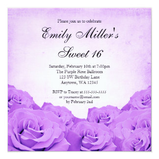 Vintager lila Rosen-Bonbon 16 Geburtstags-Party Quadratische 13,3 Cm Einladungskarte