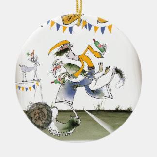Vintager links Flügelfußballspieler Brasiliens Keramik Ornament