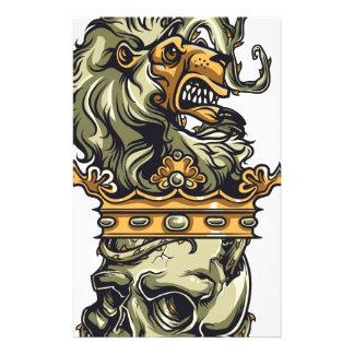 Vintager Löwe auf totem Schädel Briefpapier