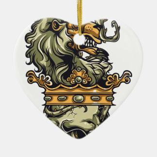 Vintager Löwe auf totem Schädel Keramik Herz-Ornament