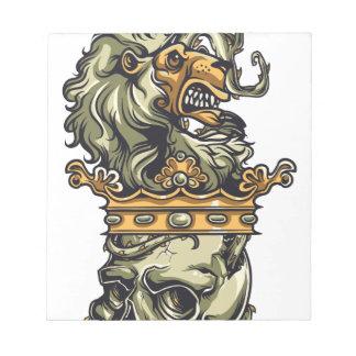 Vintager Löwe auf totem Schädel Notizblock