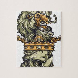 Vintager Löwe auf totem Schädel Puzzle