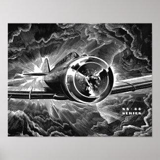 Vintager Luftfahrt-Kämpfer-Flugzeug-Kunst-Druck Poster