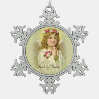 Vintager Mädchen-Engel mit Rosen Schneeflocken Zinn-Ornament