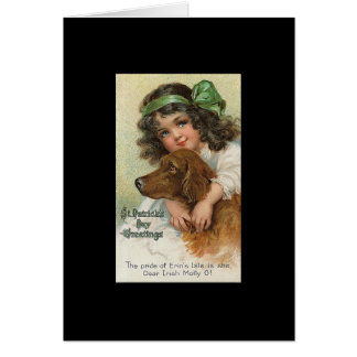 Vintager Mädchen-und Hundest patrick Tag Karte