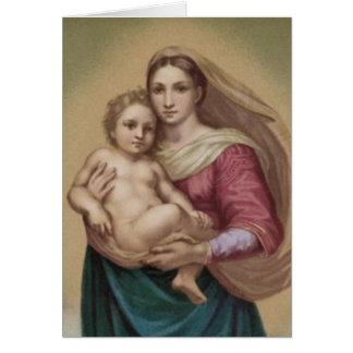 Vintager Madonna und Kind Grußkarte