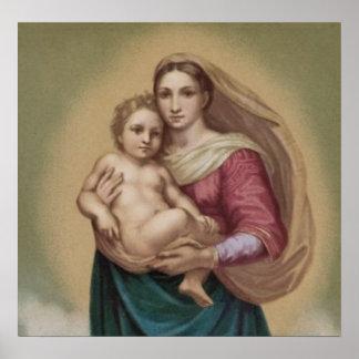Vintager Madonna und Kind Poster