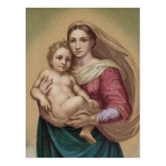 Vintager Madonna und Kind Postkarte