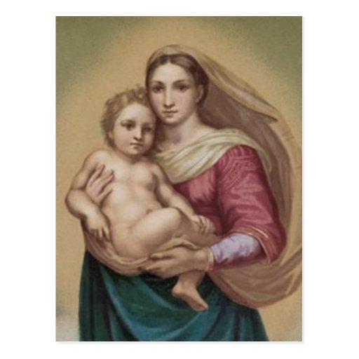 Vintager Madonna und Kind Postkarten