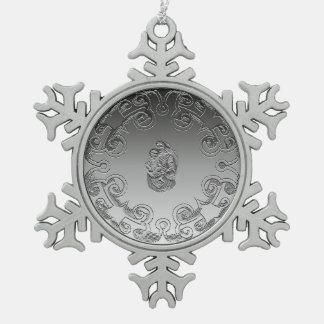 Vintager Madonna und Kind Schneeflocken Zinn-Ornament